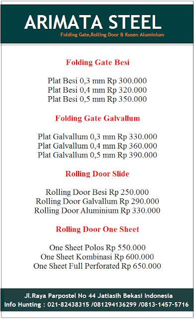 gambar harga folding gate murah dan rolling door