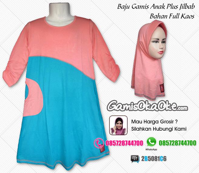 Baju muslim anak perempuan model terbaru dengan bahan kaos katun berkualitas bagus harga murah meriah