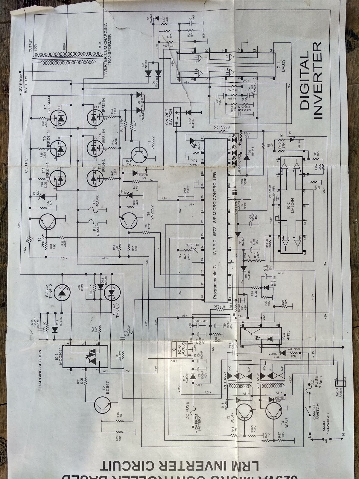 Schematic Diagram Inverter Pure Sinewave Luminous Old Model Circuit Hd