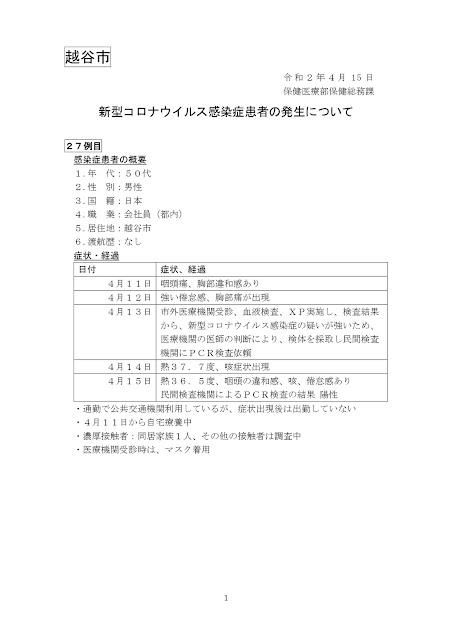新型コロナウイルス感染症患者の発生について(4月15日発表)