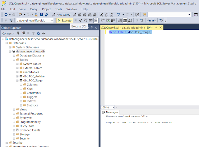 Dropping table in SQL Server Management Studio
