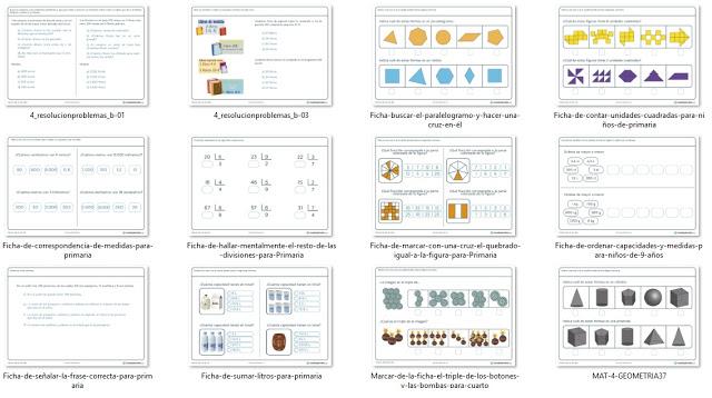 12 fichas de matematica para cuarto de primaria