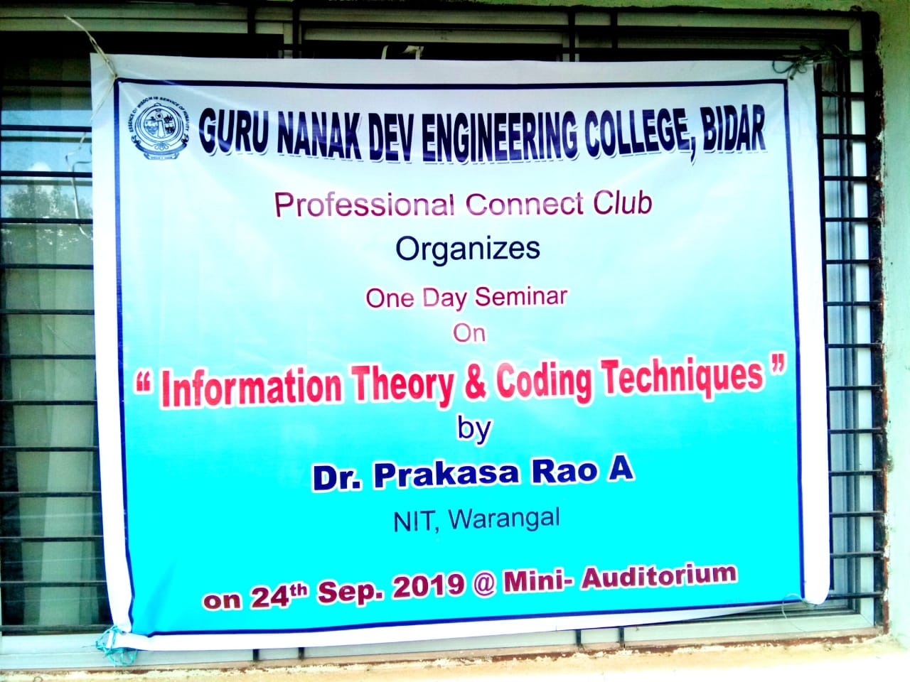 Professional connect club has organized one day seminar on information theory and coding