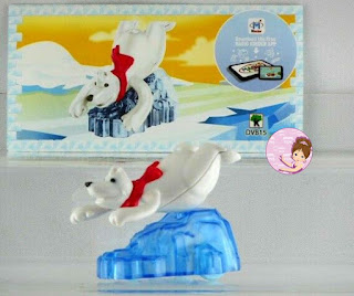 Polar Bear figurine riding an iceberg from Kinder Maxi Christmas egg