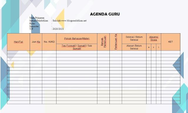 Contoh Jurnal Agenda Guru Mengajar