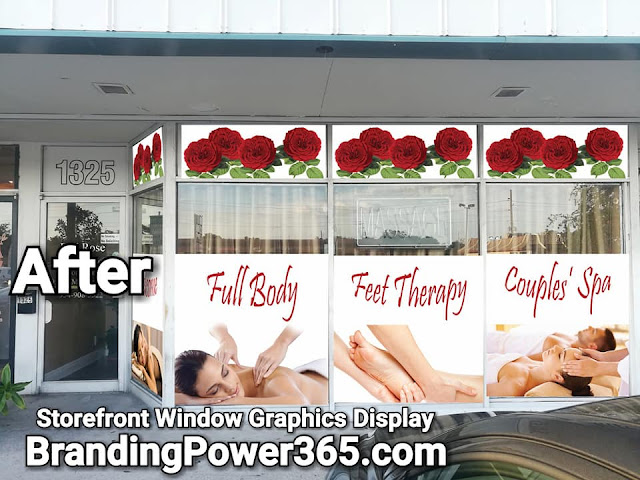 Asian Massage Spa, Storefront Vinyl Graphics Installation - www.BrandingPower365.com
