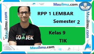 RPP 1 lembar tik kelas 9 Semester 2 daring