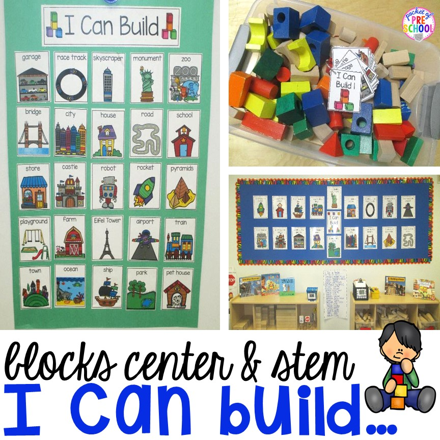 "Do ever have those kids that get to the blocks center and don't know what to build? ""I Can"" anchor charts and books helps give students ideas of what they can build. Easy way to embed STEM activities to your classroom."