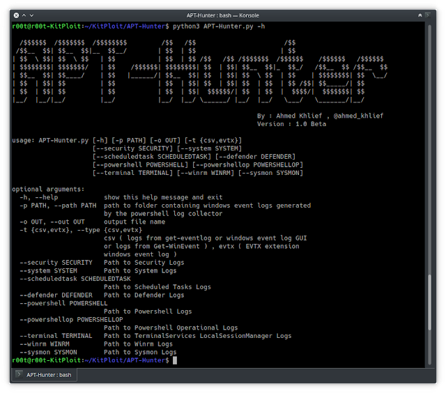 APT-Hunter – Threat Hunting Tool For Windows Event Logs Which Made By Purple Team Mindset To Provide Detect APT Movements Hidden In The Sea Of Windows Event Logs To Decrease The Time To Uncover Suspicious Activity