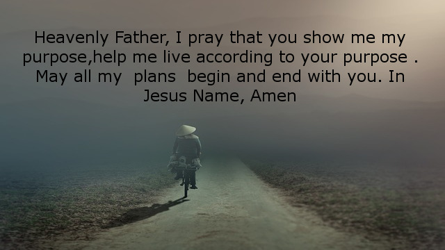 Heavenly Father, I pray that you show me my purpose,help me live according to your purpose . May all my  plans  begin and end with you. In Jesus Name, Amen