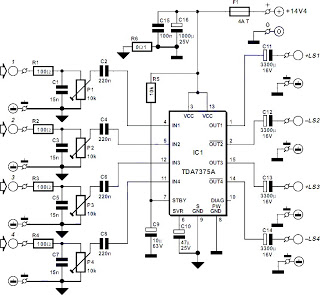 Electronics Circuit Application : 100W Quad Car Amplifier