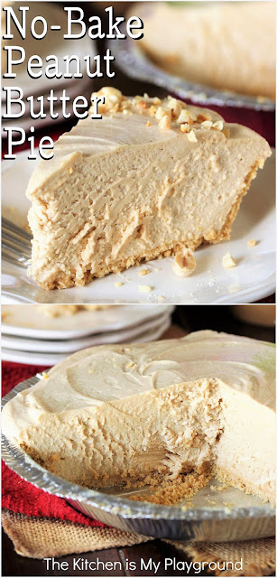Fluffy No-Bake Peanut Butter Pie ~ A velvety mix of peanut butter, cream cheese, & homemade whipped cream that's nothing short of mouth-wateringly delicious. With fabulous peanut butter flavor, fluffy texture, no-bake, and easy to make, there's not much more to ask for in a peanut butter sweet treat!  www.thekitchenismyplayground.com