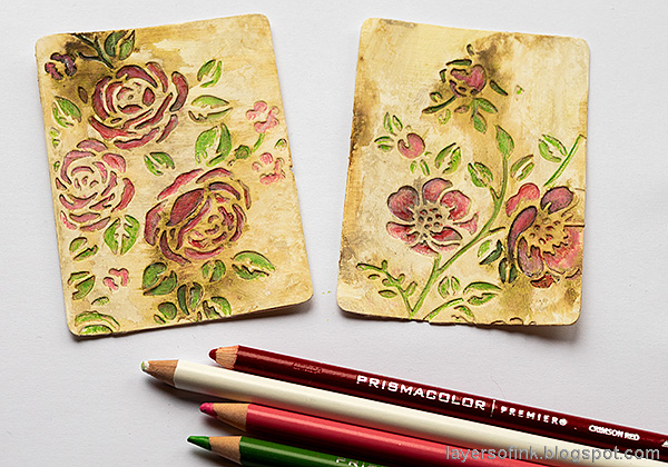 Layers of ink - Vintage Flower Artist Trading Cards Tutorial by Anna-Karin Evaldsson. Color with Prismacolor pencils.