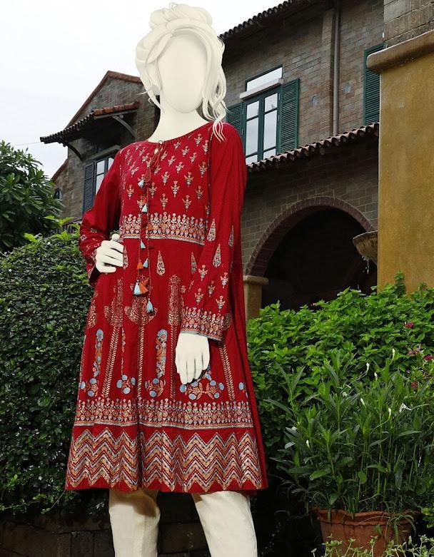 J. Junaid Jasmhed pret red printed crimbric kurti for women winter collection