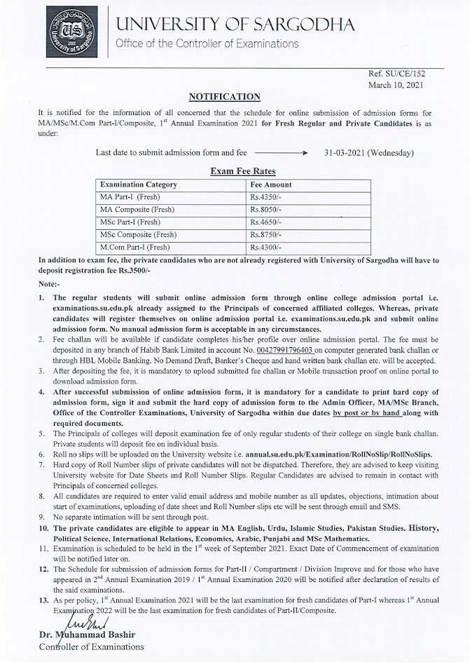 Sargodha University Started Receiving Admission Forms of MA/M.Sc and M.Com Part.Annual 2021 Exams