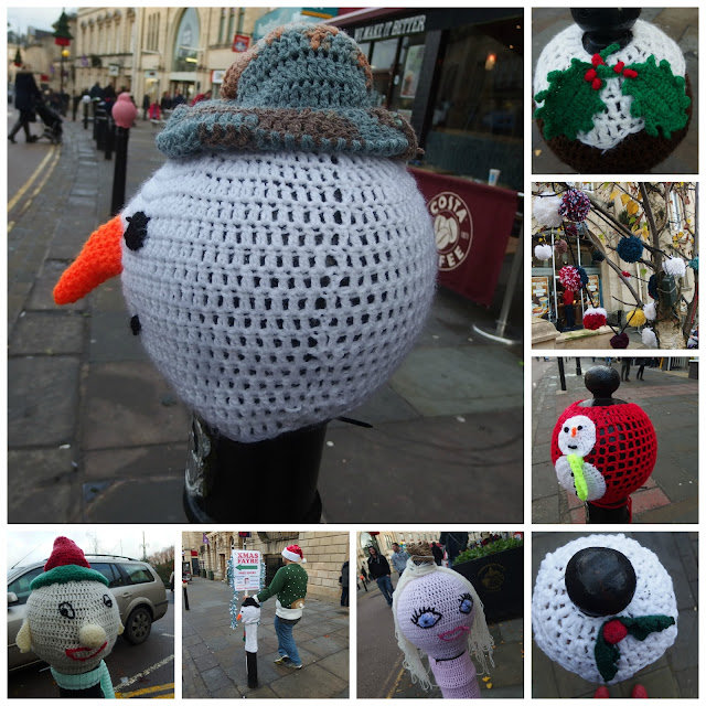 Festive yarn bombing on Chippenham High Street