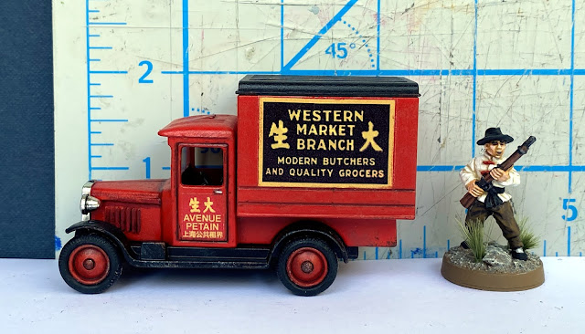 Lledo DG51 Chevrolet 1928 Box Van , Western Branch Market, Shanghai, China, 28mm WW2 Bolt Action Wargaming