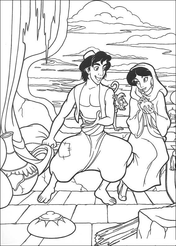 Free Love Quotes: Aladdin and Jasmine Coloring Pages