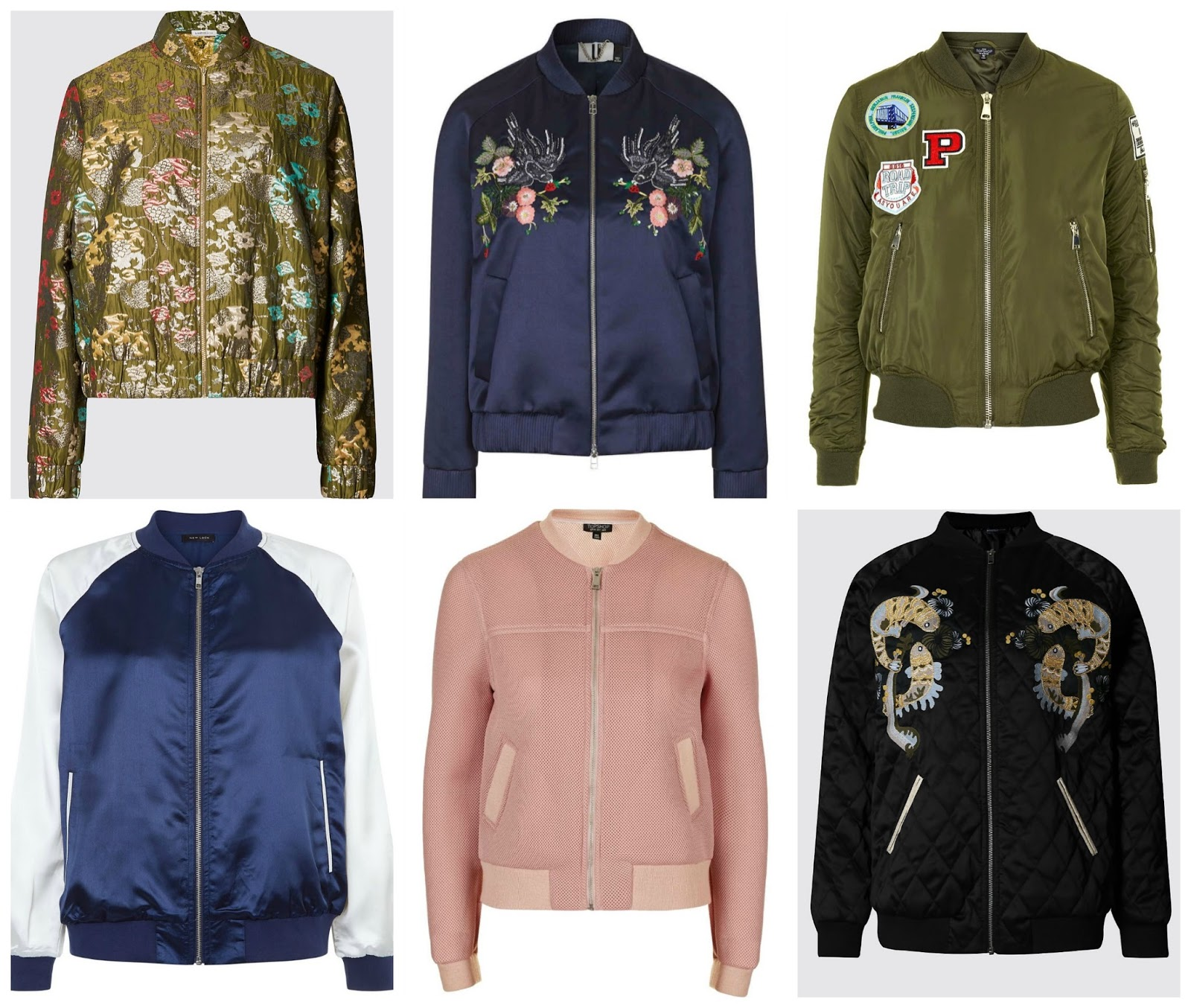 01f886673901e Jacquard Jacket, £59, Limited Edition at Marks & Spencer; Ebury Bomber,  £650, Topshop Unique; Badged MA1 Bomber, £59, Topshop; Quilted Oriental  Bomber, £65, ...