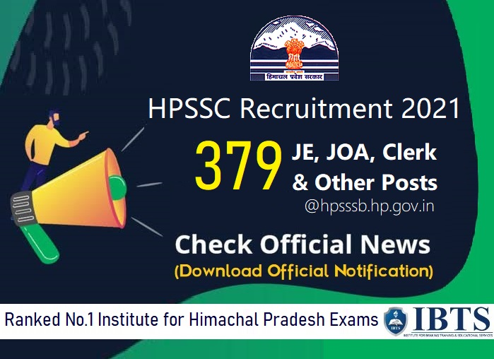 HPSSC Recruitment 2021 for 379 JE, JOA, Clerk & Other Posts, Download HPSSSB Notification @hpsssb.hp.gov.in