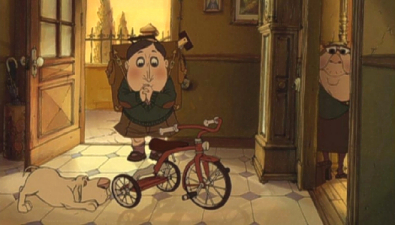 Giving Champion a tricycle The Triplets of Belleville 2003 animatedfilmreviews.filminspector.com