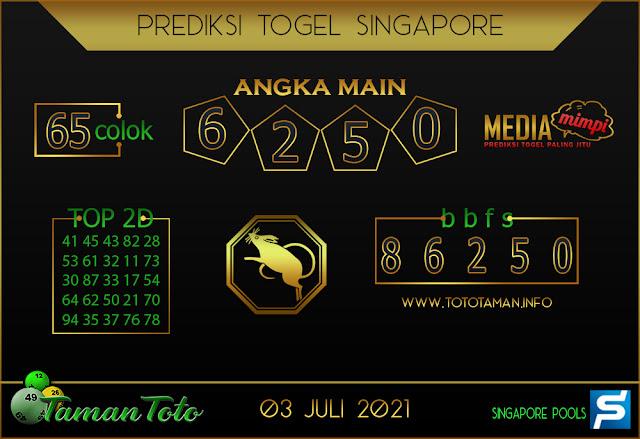 Prediksi Togel SINGAPORE TAMAN TOTO 03 JULI 2021
