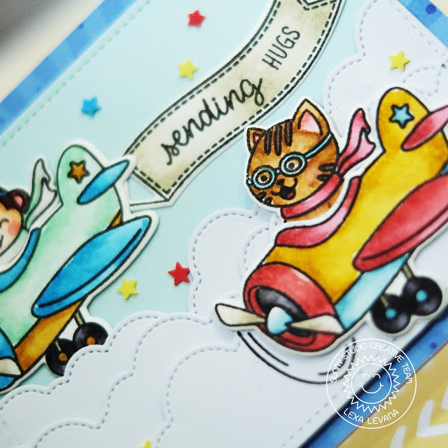Sunny Studio Stamps: Plane Awesome Fluffy Clouds Border Dies Sending Hugs Card by Lexa Levana