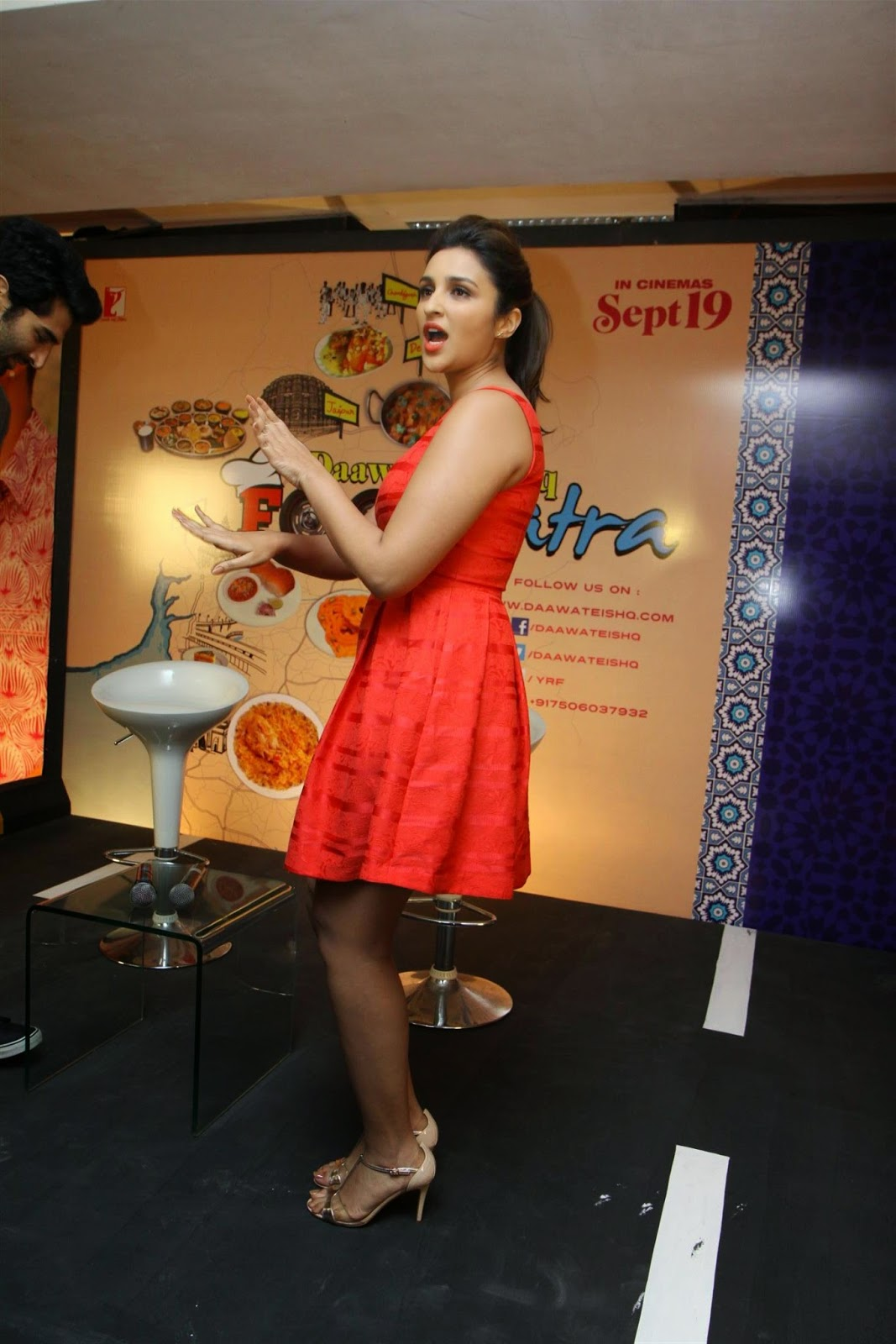 Parineeti Chopra Sexy Cleavage And Legs Show In Red Dress -4290