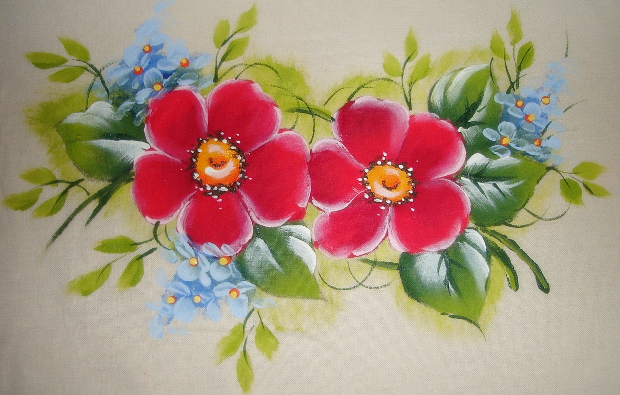 miolinhos em caramelo e amarelo canário pintura em tecido flores