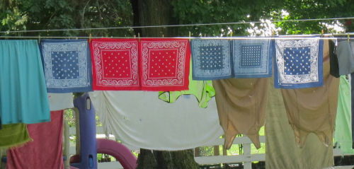 bandanas on a clotheline