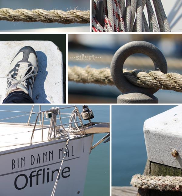 Details Segelboot und Anlegestelle