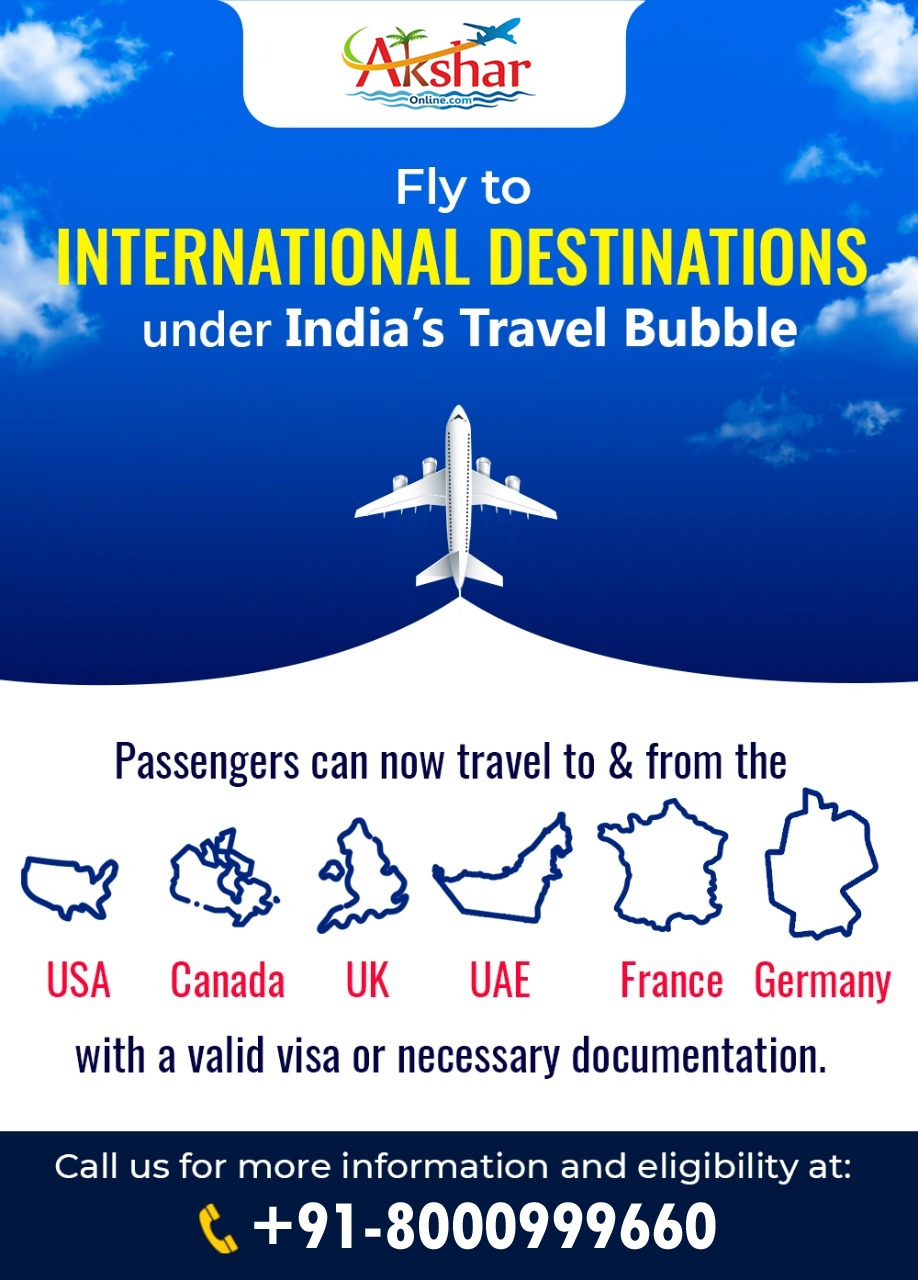 Fly to International Destination - Under India's Travel Bubble - USA | Canada | UK | Europe | France | Germany and more....Cheap Airfare, Domestic and International Air Ticket booking service, Travel agency in ahmedabad, 24hrs support in air ticket booking, airline ticket booking agency, air ticketing services, air ticket, railway ticket, hotel booking, tour package, bus ticket, visa, passport, pcc, traveller cheque/dd, wire transfer services, domestic money transfer, western union money transfer services, travel insurance, car rental, health insurance, vehicle insurance, akshar travel services, akshar tours and travels, akshar infocom, ahmedabad travel agent, aksharonline.com, aksharinfocom, akshar travel booking zone