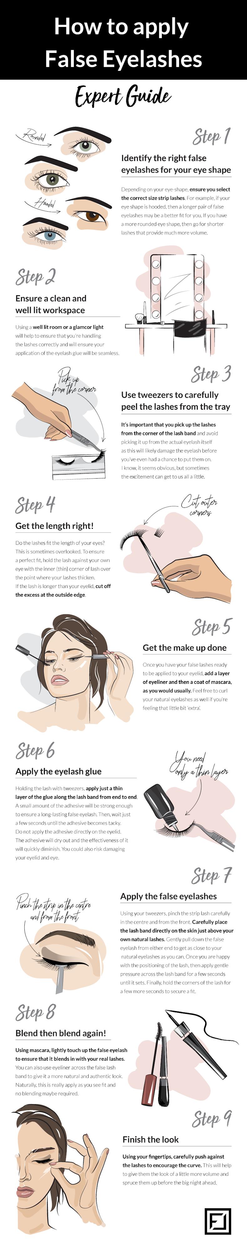 How To Apply False Eyelashes #infographic #Fashion #Eyelashes #infographics #False Eyelashes