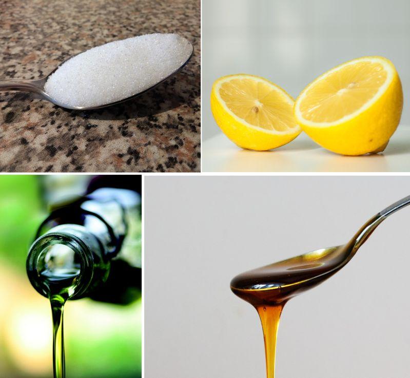 Zuten DIY Peeling: Zucker, Zitronensaft, Olivenöl und Honig