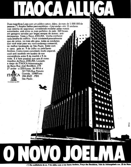 Propaganda antiga de lançamento do Edifício Joelma após o incêndio de 1974