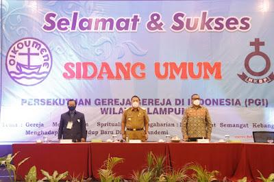 Gubernur Arinal Buka Sidang Umum VI PGI Wilayah Lampung