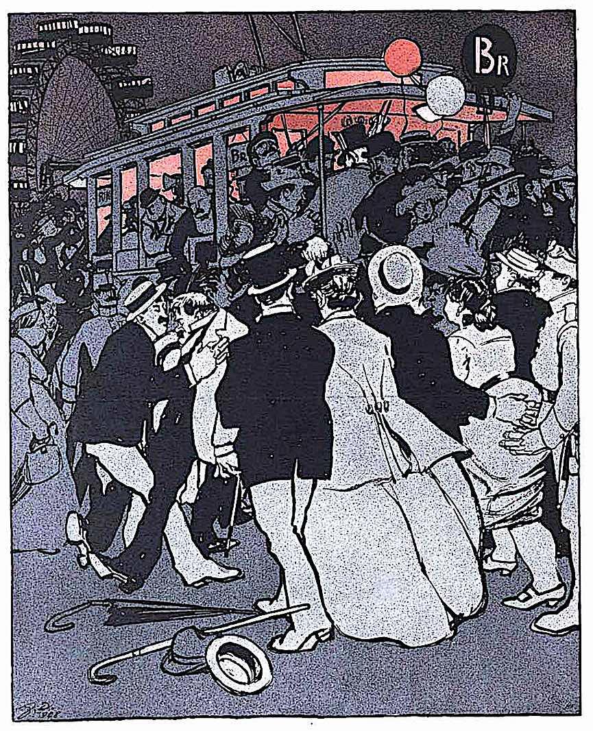 a Franz Wacik drawing of crowds rushing a streetcar