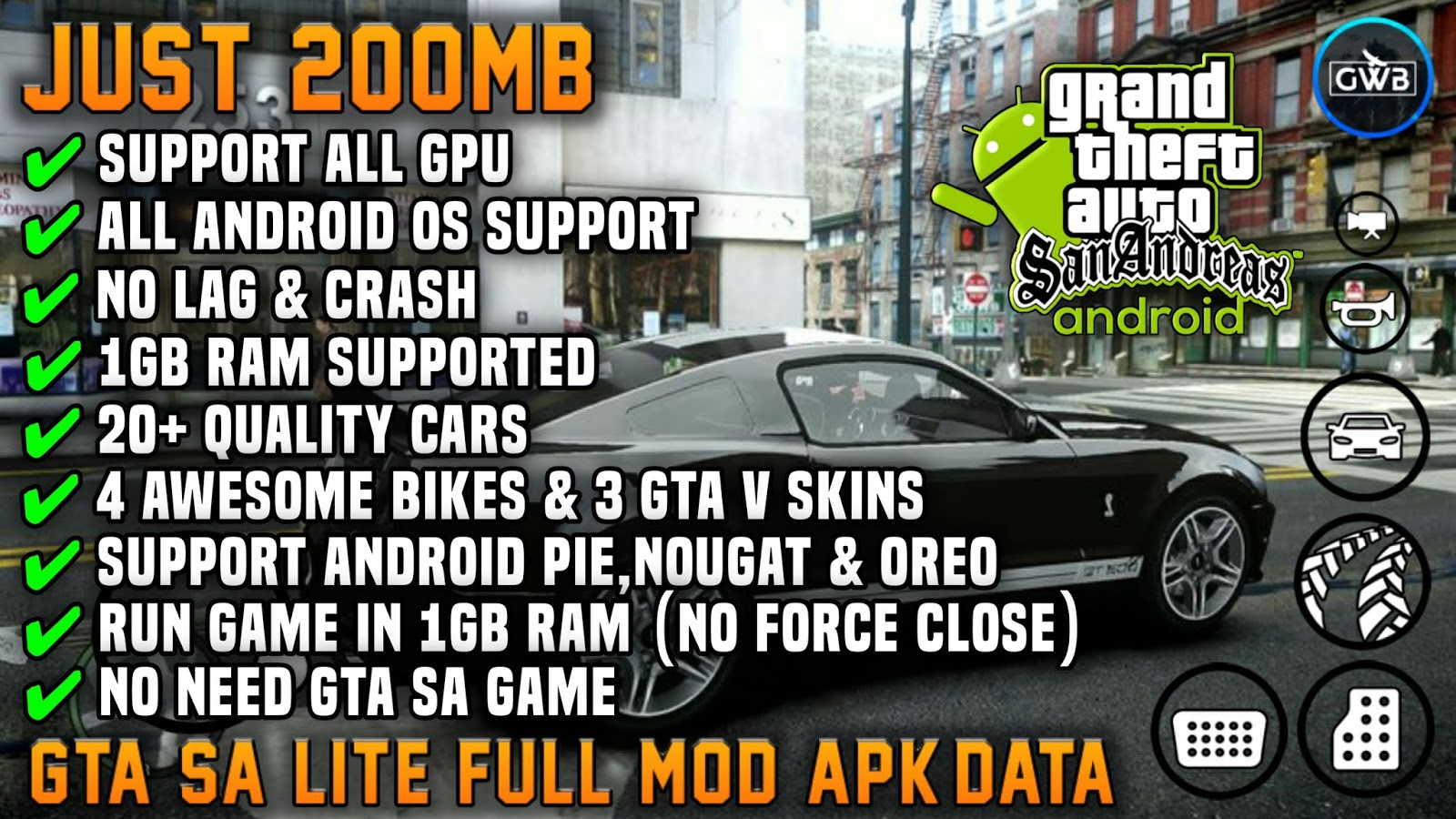 GTA SA LITE FULL MOD RAM 1GB SUPPORT ALL OS ANDROID | JUST