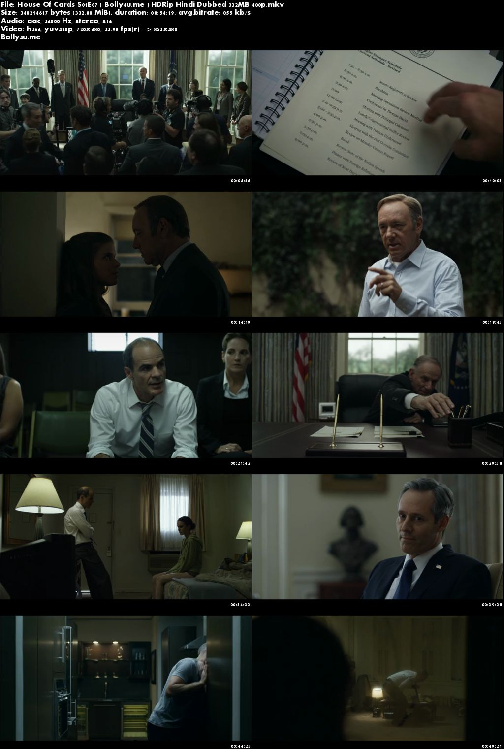 House Of Cards S01E07 HDRip 300MB Hindi Dubbed 480p Download