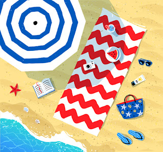 Clipart Image of a Top View of a Beach Towel and Parasol on Sand