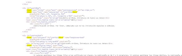 código fuente de parte del formulario de acceso cómo usuario
