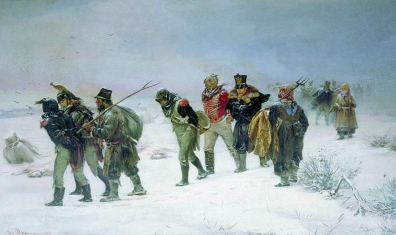 русские солдаты ведут пленных французов