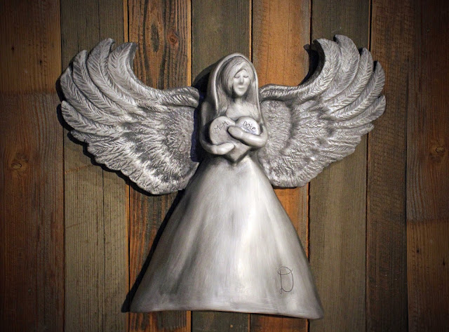 angel urn, heart urn, cremation urn, handmade