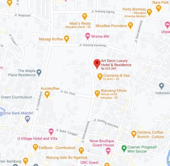 Map Letak Hotel Art Deco Luxury Bandung