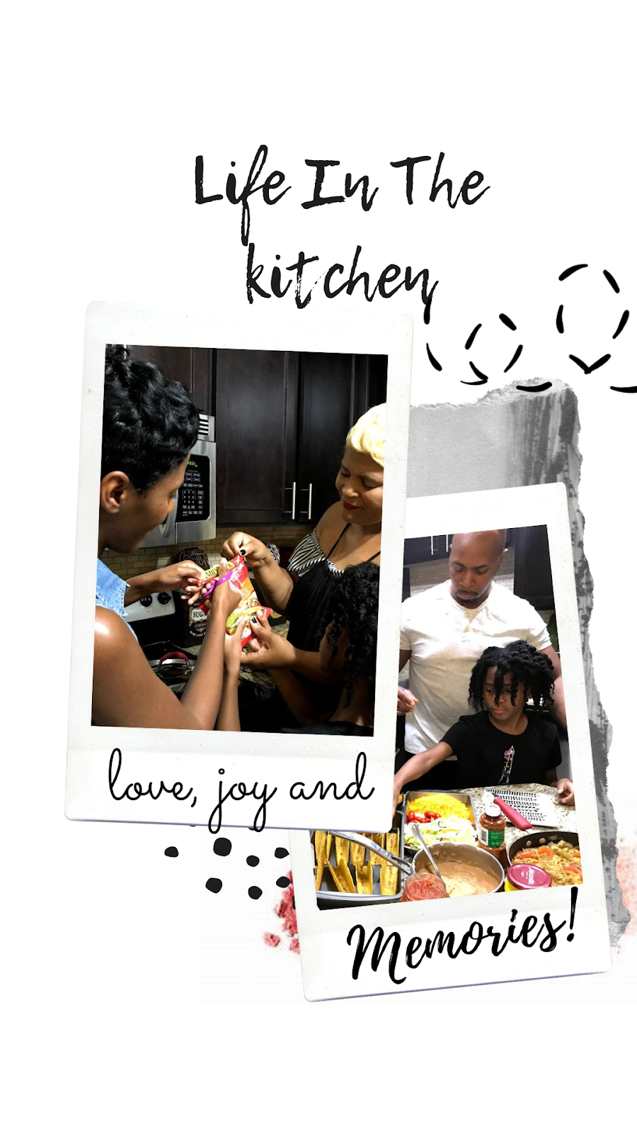 Image: Family In The Kitchen learning how to cook together:Two daughters, Dad, Mom