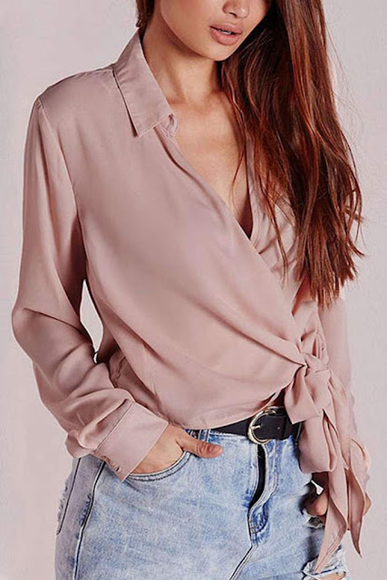 Iyasson Women Tie Front Knot Long Sleeve V Neck Wrap Casual Blouse