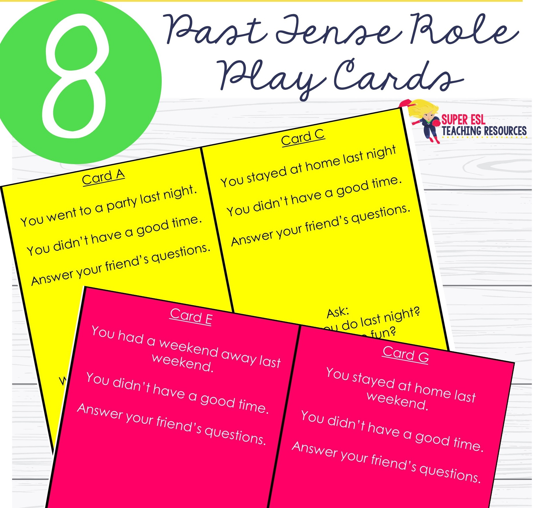 Past Tense Role Play Cards Esl Adults