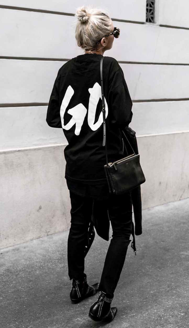 black on black / hoodie + bag + boots + skinnies + jacket
