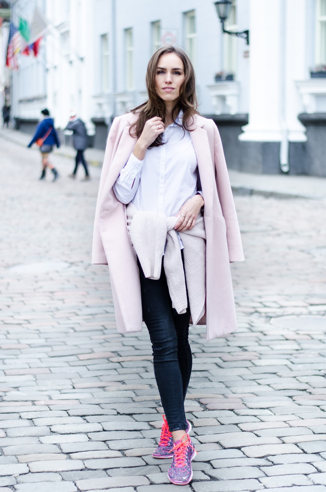 pink coat winter layering outfit