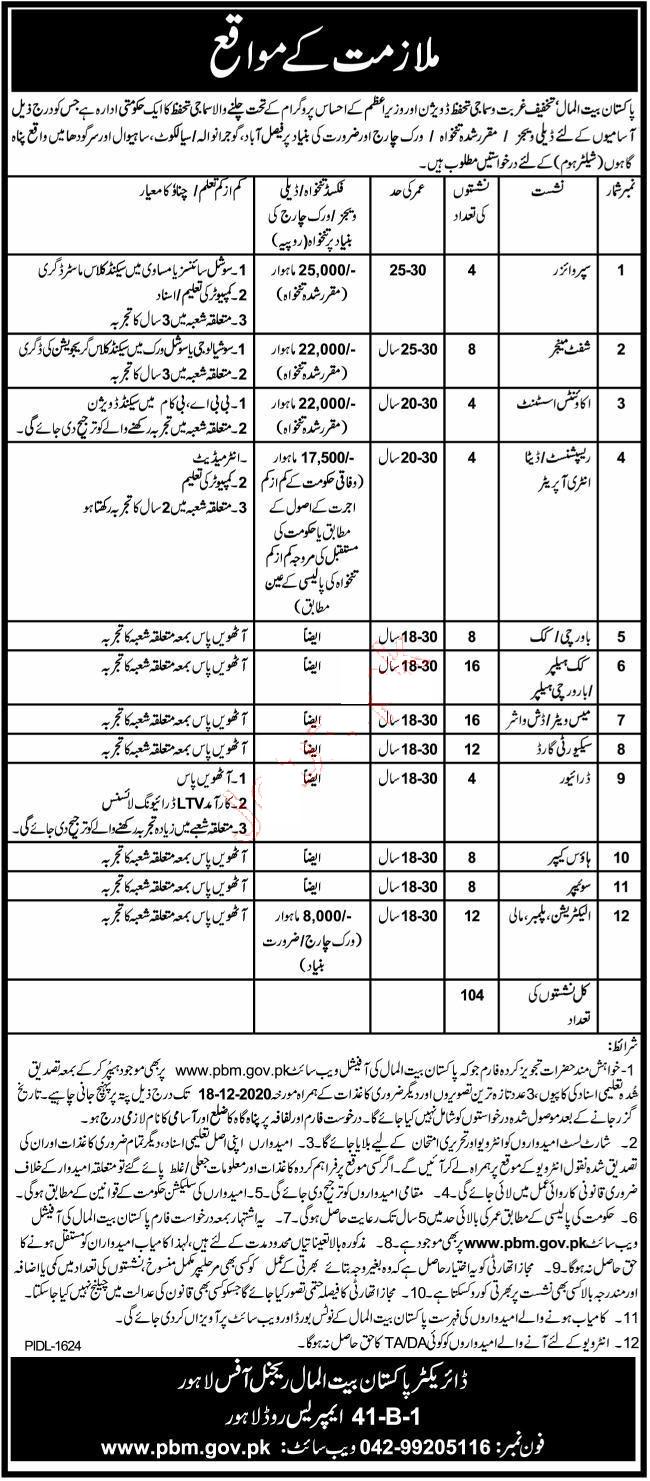 Latest Govt Jobs in Pakistan Bait ul Mal PBM